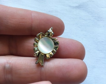 Tiny Vintage Silver Tone and Opalescent Bird Brooch Pin