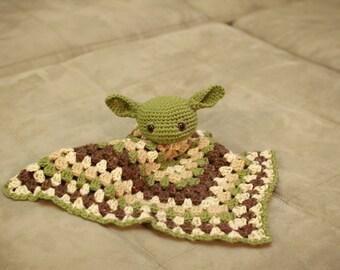 Star Wars inspired Yoda Security Blanket : Crochet Baby Lovey