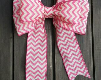 "9"" pink and white chevron wreath bow."