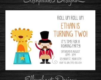 Circus Birthday Invitation, lion with ringmaster, cute, party, 1st, 2nd, first, second, orange, custom invite, digital file, you print