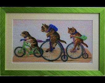 Cats - Unique handmade picture embroidered with beads, Framed picture, Beadwork, Embroidered picture, Homedecor, Crosstich, Bordado