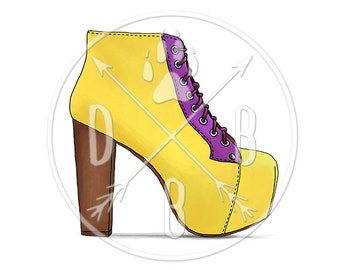 E0034_yellow - Jeffrey Campbell Lita Boots, Yellow, Purple - Digital Print, Instant Download. Printable Illustration. PNG/JPG files 8x10''.