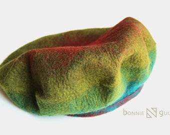 Felt Beret for a Child, blue+green+red, rainbow