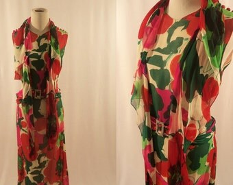 1960's Silk Dress/Vintage Maxi Dress/Medium Vintage Dress