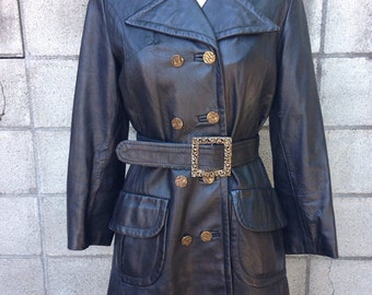 Leather Trench Coat Vintage 1970s Canada Black Mod Spy Jacket Belted Women's