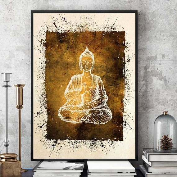 Buddha wall art buddha painting buddha statue print for Buddha decorations for the home uk