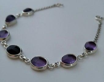 Amethyst Silver Bracelet, handmade amethyst bracelet, purple Amethyst bracelet, Amethyst in sterling silver, simple bracelet, unique design.