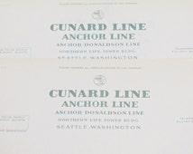 c.1930s Cunard Line Anchor Line Unused Letterhead Seattle Washington Nautical Ephemera
