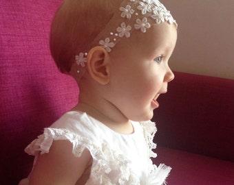 Christening headband, flower girl headband, christening accessorie, daisy headband, Baptism headband, baptism accessorie