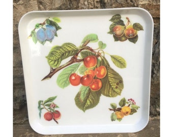 Port Meirion Tray - Vintage Retro Serving Tray - Flowers and Fruits / Flower and Fruit Red Yellow Green Blue - Pears Peaches Cherries