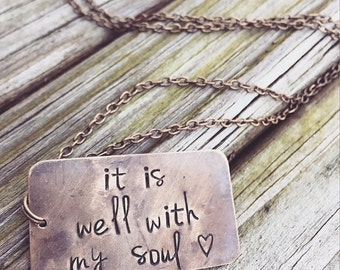 It Is Well With My Soul Vintage Necklace