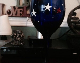 Hand Painted 4th Of July Wine Glass