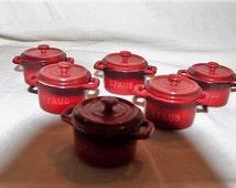 Staub Miniature Dutch Oven Samples (6) Burnt Orange