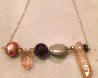 Pearl and Amethyst bar necklace