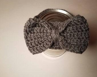 Gray Crocheted Bow headband