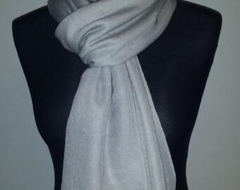 Pashmina Cashmere Silk Stole Silver