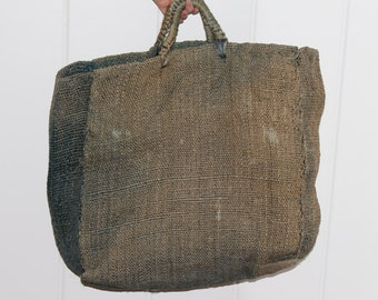 1970s Olive Straw Tote