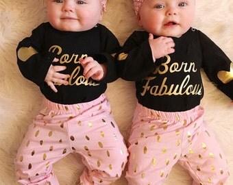 Born Fabulous, Newborn, Infant Outfit, 2 pc set Size 0-3 months, 3-6 months, 6-12 months