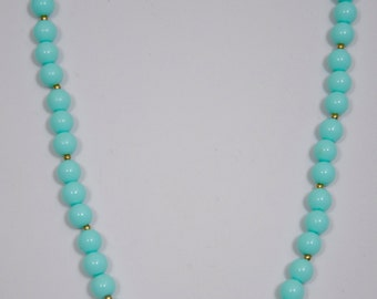 Handmade Beaded Necklace by me with tiny gold beads in-between