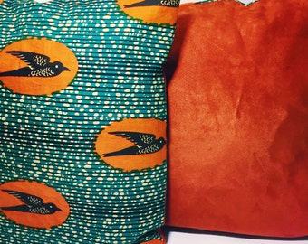 African Print and Microsuede Throw Pillow Cover // Decorative Pillow Cover // Accent Pillow Cover // African Print Cushion Cover