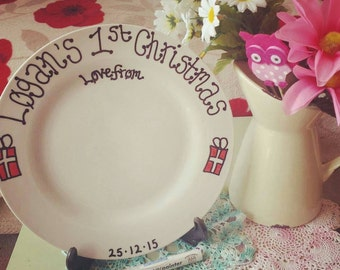Babies 1st First Christmas Plate, Keepsake, Personalised Plate, Baby Present, Grandchild, Santa, Father Christmas