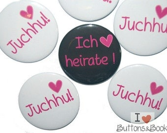 10 x wedding buttons hen party heart love pink white black hen stag party