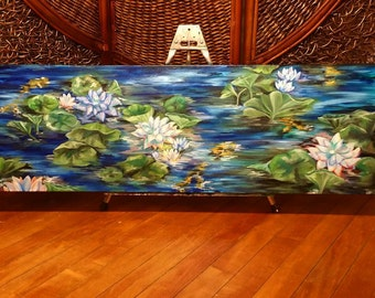 Lilies and Koi - Original Oil Painting