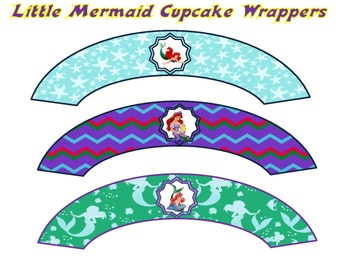 Little Mermaid Cupcake Wrappers- INSTANT DOWNLOAD!!!