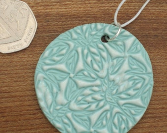 Porcelain Statement Pendant Wedding Jewellery Mint Green Lace Pattern