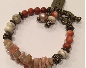 Single and double strand earthtone bracelet #5