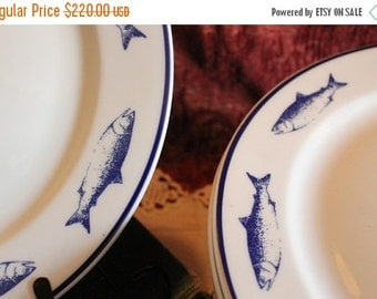 "End Of Summer SALE Set of 11 Strawberry Street 12"" Charger or Dinner Plates - White with Blue Fish, Made in Poland"