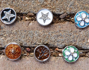 12mm Interchangeable MINI Snap Charm, Six Styles As Shown In Pictures, Bracelets in Turquoise or Other Accessories Needing Small Snap Charm