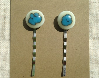 Fused Glass Hair Pins in Blue and Cream