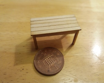 1/48th Quarter scale Dolls house wooden Kitchen table (unpainted)