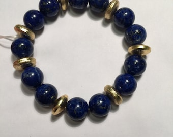 Silver and lapis bracelet
