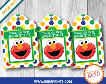 PRINTED Elmo Favor Tags | Set of 10 | PERSONALIZED with Child's Name | Printed & Ready to Use!