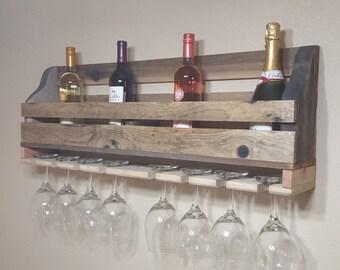 Wine bottle and glassware shelf