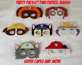 Party Packs!! Paw Patrol Mask/ Paw Patrol Birthday/ Party Favors/ Costume - Ready to Ship