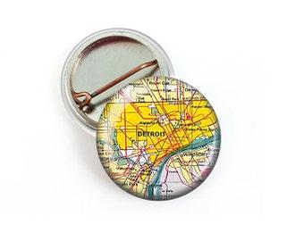 Detroit Map Pin Button 1.25 Inch Diameter