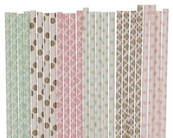 Paper Straw Mix, Light Pink Mint Green Gold Polka Dot Damask Straws, Garden Tea Party Decor Bridal Shower Brunch Straw 1st Birthday Supplies