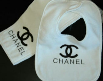 Chanel inspired baby bib and wipe cloth