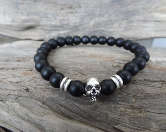 EXPRESS SHIPPING,Matte Onyx Bracelet, Skulls Bracelet, Unisex Stones Stretch Bracelet, Yoga,Meditation, Beaded Spiritual Reiki Sacral