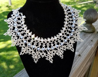 Silver tatted necklace