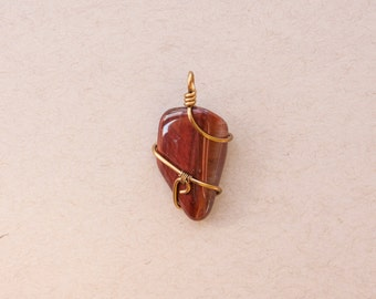 Wire wrap pendant red tiger's eye
