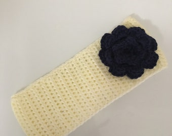 Crochet Ear Warmer Headband with Crochet Flower