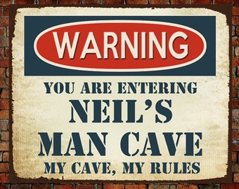 Personalised Large Metal Plaque Sign MAN CAVE RULES Christmas Father's Day Gift Present Dad Daddy Grandad Uncle Brother Son