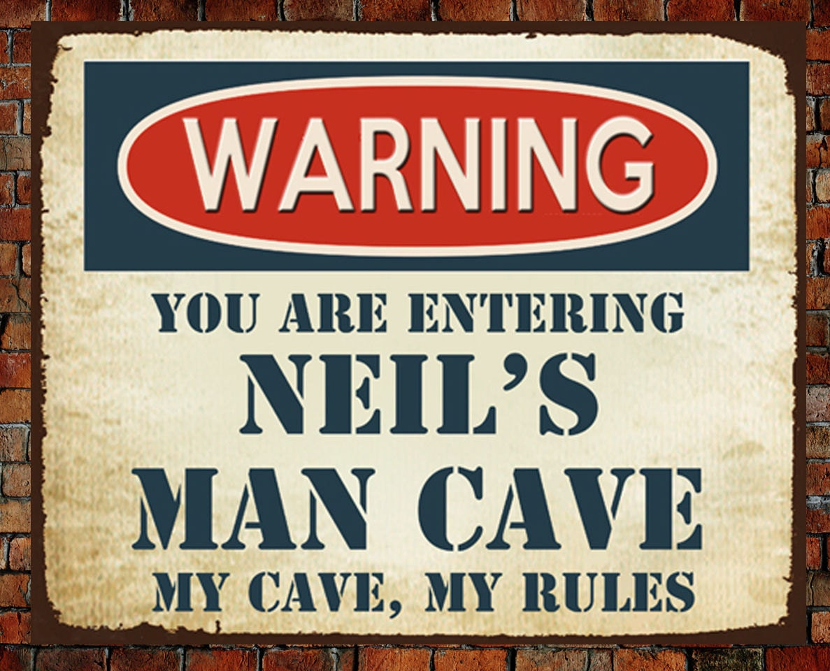Personalised Metal Man Cave Signs : Personalised large metal plaque sign man cave rules christmas