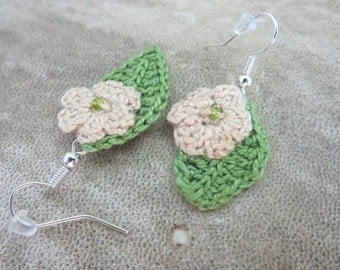 Earrings, green leaf, flowers, cotton, crochet, earrings with beads, gift, Free shipping