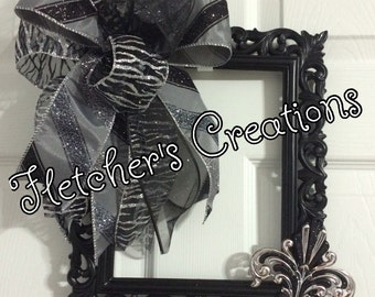 Black frame wreath or wall hanging