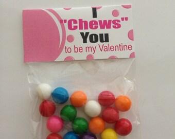 KIDS VALENTINE CARD,Valentine candy,I chews you valentine,gumball valentine,valentine topper,bubble gum Valentine,valentines day
